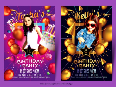 kids birthday party flyers by satgur design studio dribbble