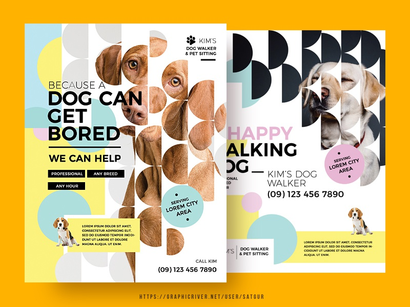 Dog Walker Flyer promotion advertisement shapes colorful creative artistic stylish modern style modern design masking layout photoshop template print design flyer poster pet sitting pet care dog care dog walker