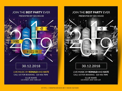 New Year Party Flyer dj night festival december fest music flyer advertisement advert event print design creative invitation new year card layout dj mix nye party flyer poster flyer photoshop nightclub new year eve