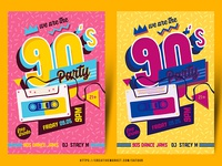 90s 80s Party Flyer Template