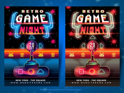 Retro Game Night Flyer Template