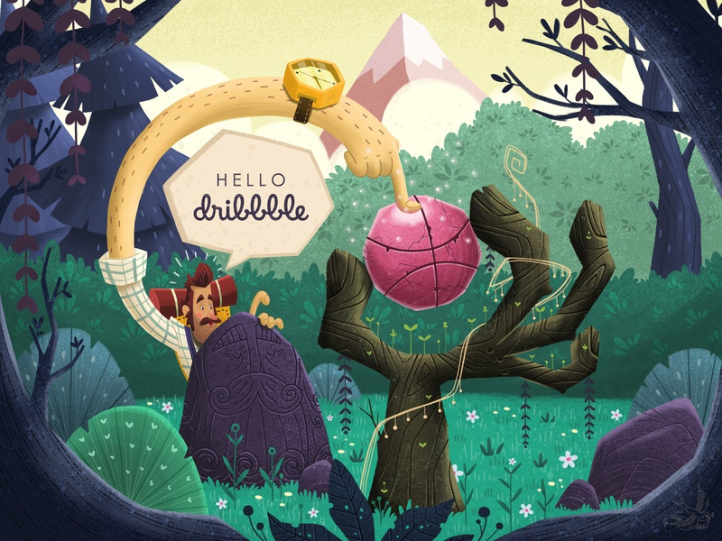 Hello Dribbblers! environment picture book design journey artist art debut shot hello dribbble cartoon children book illustration character design illustration