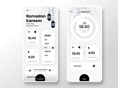 Ramadan Timer App refined islam toggle switch new mobileapp trendy solat black and white monochrome ux ui ramadan ramadan mubarak design app