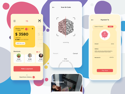 Banking App • Mobile Screen qrcode banking mobile flat application transaction payment send money modern ios green dashboad creditcard creative contact colorful clean ux ui app