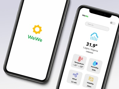 wewe - weather forcast weather app weather forecast weather colors playstore clean simple minimal ux ui concept figma flat android app design design