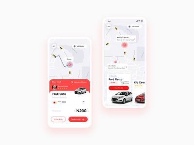 Ride Sharing UI presentation ride sharing app ride share app design android app design inspiration clean ux illustration concept flat figma ui design