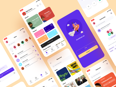 Educational App for Students learning platform e-learning icons lesson course illustration app ios mobile refined app design trendy inspiration clean concept ui ux figma design education