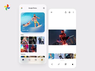 Google photos Redesign UI pictures gallery illustrations 3d google app design illustration inspiration flat clean concept ux ui figma design