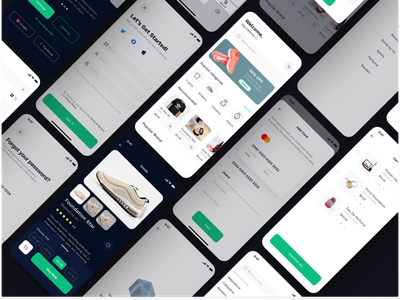 Shopicle - Ecommerce Mobile App shopping app flat app design figma ux ui checkout add to bag brand shoes store app mobile app mobile ui minimalistic online shop ecommerce app ecommerce application ui design