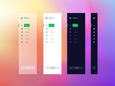 The Sidebar figma design flat minimal web app dashboard side bar nav bar ui ux glasmorphism navigation clean darkmode