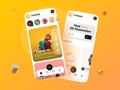 3D app animation user interface app ui qclay mobile app mobile ux ui ios app ios social community art app illustration graphic design 3d
