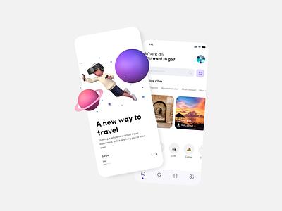 VR Travel mobile visa tour travel app art destination world concept app design app augmented reality figma illustration virtual travel ar virtual reality vr 3d ui