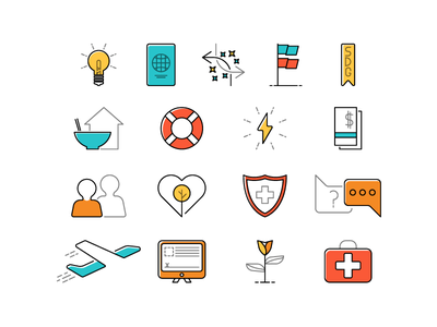 Organziational Icons Set arrows plane support flag global passport challenge action illustrations logos aiesec icons