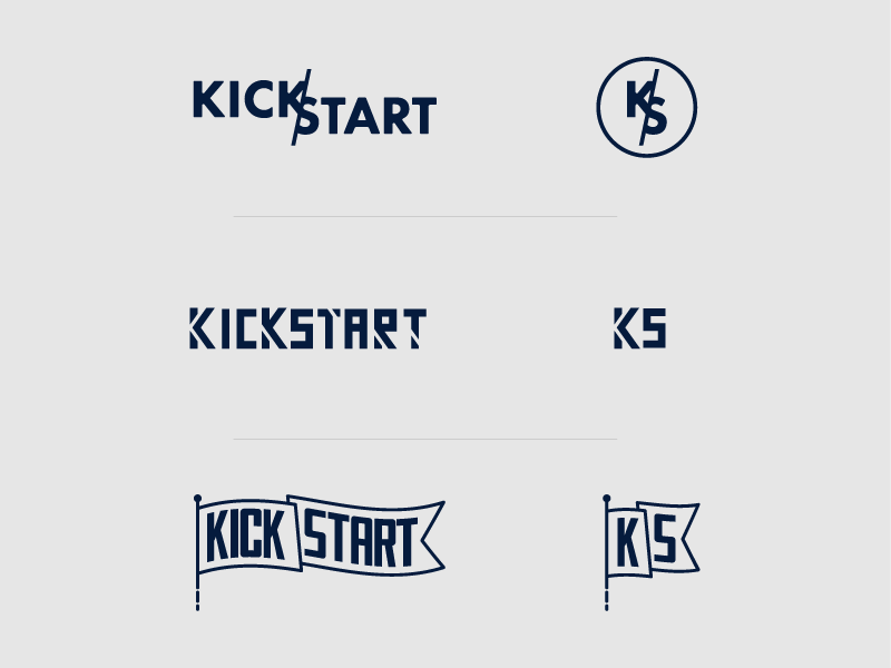 Kickstart Logos badge banner emblem flag concepts logo illustration kickstart