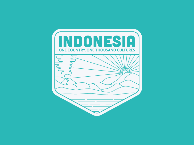 Indonesia Badge illustration lineart logo asia indonesia emblem badge