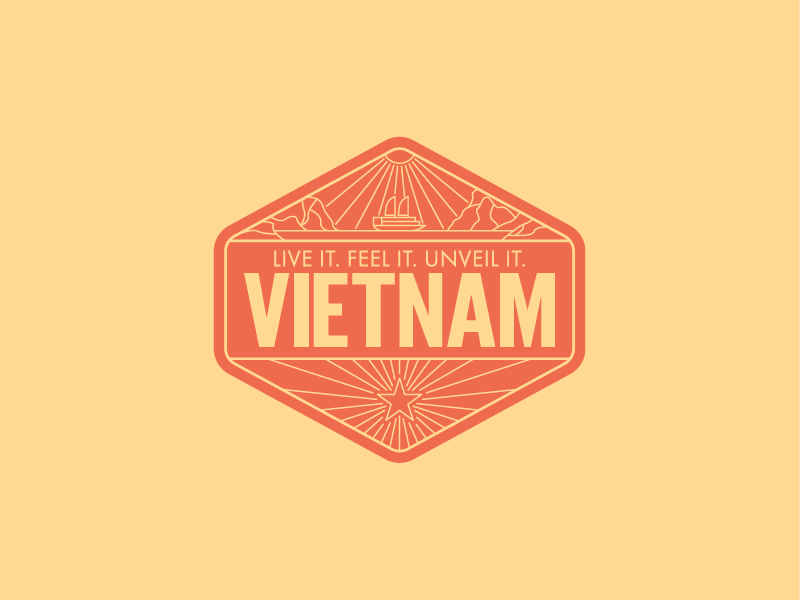 Vietnam Badge lineart logo illustration emblem badge asia vietnam