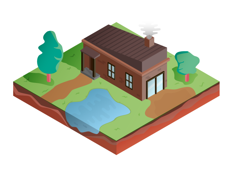 Isometric House video game illustration game garden house isometric iso