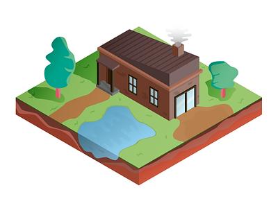 Isometric House video game illustration game garden house isometric iso