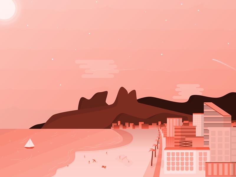 Ipanema Illustration gradient flat illustration beach ipanema brasil brazil