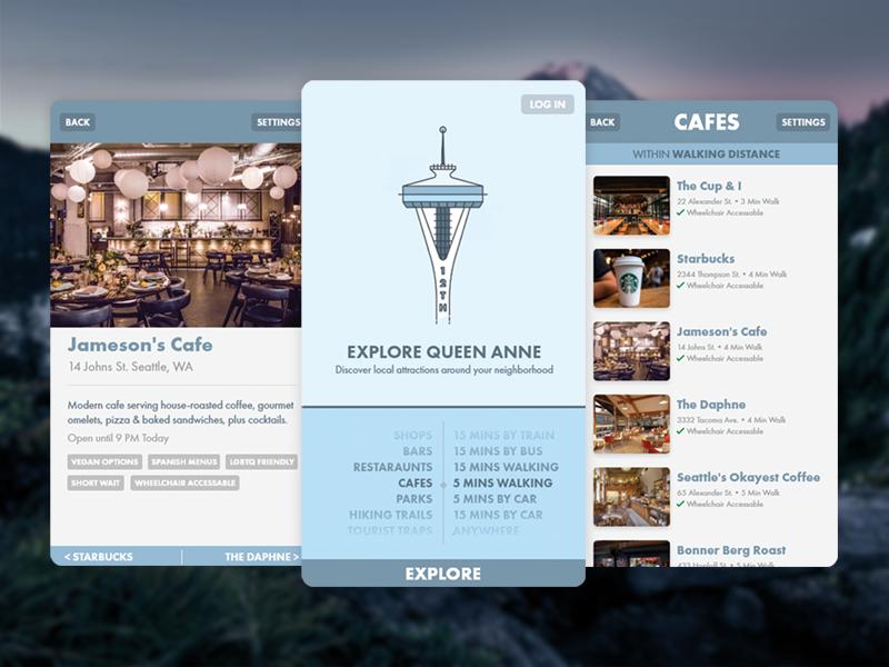 Explore Seattle prototype adobe xd ui ux screens app seattle