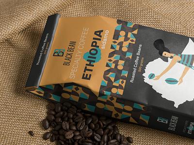 BLACK BEAN coffee packaging packaging icon logo design design logo branding graphic design