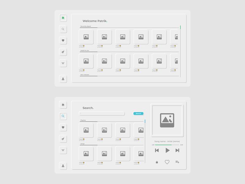 Neumorphic music app concept ux ui app concept app design app uidesign design