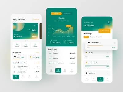 Simple Banking iOs App cards list spendings dashboard chart bank ios app ux ui fireart studio fireart