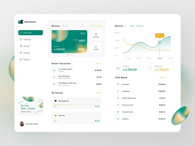 Simple Banking Web App ui dashboard app cards ui ux bank chart spendings list cards fireart studio fireart
