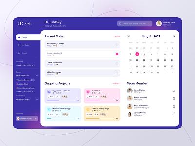 Project Management Dashboard - desktop view task calendar ux ui management dashboard fireart studio fireart