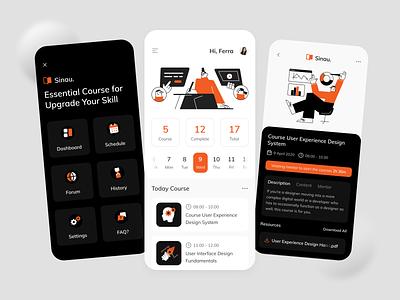 Courses iOS App clean dark illustration learn courses ux ui design fireart studio fireart