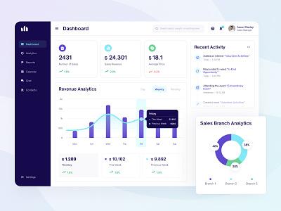 CRM Platform Dashboard chart revenue cards activity dashboard ux ui fireart studio fireart