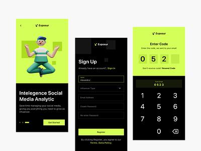 Exposur Onboarding Screens dark keyboard sign up app mobile green ux ui fireart studio fireart