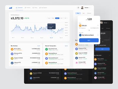 Crypto Wallet Dashboard wallet portfolio chart dark light eth crypto dashboard ux ui fireart studio fireart