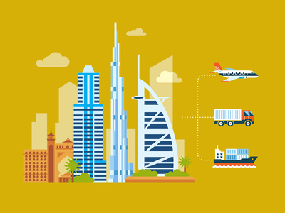 Official supplier from Dubai flat dubai building plane ship icon illustration fireart fireart studio