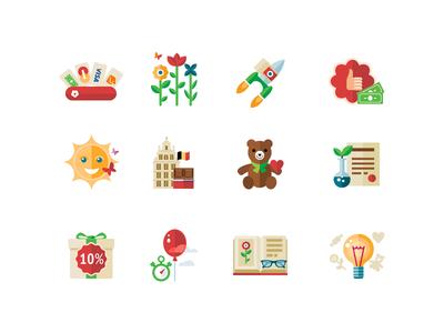 Icon set for presents shop set flower teddybear sun baloon payments icon illustration fireart fireart studio