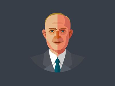 Eisenhower, 34th President of the USA flat president eisenhower face usa icon illustration fireart fireart studio