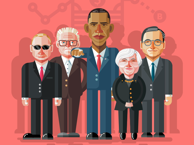 Illustration for application fireart studio fireart obama illustration putin mario draghi george soros janet yellen
