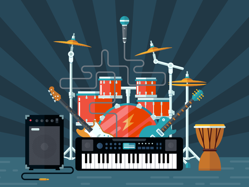 Concert Illustration phone piano speaker microphone вкгь guitar flat illustration fireart fireart studio