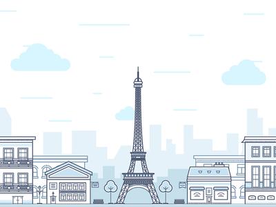 Paris capital city town house metal eiffel tower grey flat outline paris fireart studio fireart