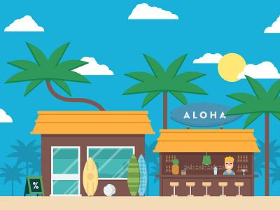 Summer bar summer sand surfing palm tree aloha bar flat fireart studio fireart