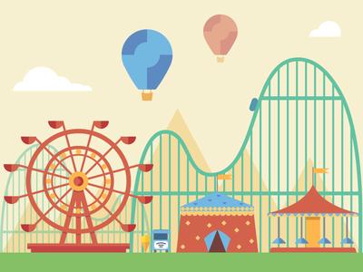 Amusement park simple flat air ball amusement park fireart studio fireart