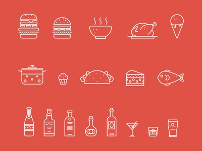 Food outline icons soup fish muffin burger icecream chicken outline food fireart studio fireart