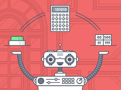 Little Man Robot table button calc flat illustration outline robot fireart studio dribbble fireart