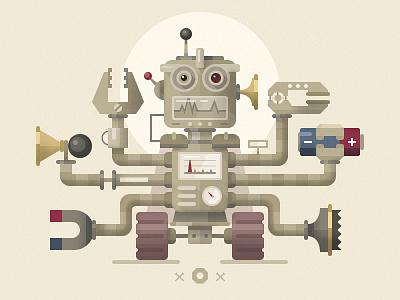 Robogod academy awards the oscars mythology robot robogod illustration flat fireart studio fireart