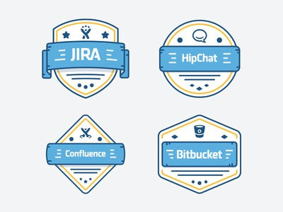 Admin Badges illustration training service desk chat software admin jira illustration badge fireart studio fireart