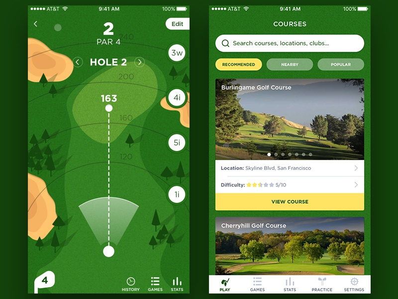 Golf app interface android ios mobile ux ui golf app design fireart studio fireart