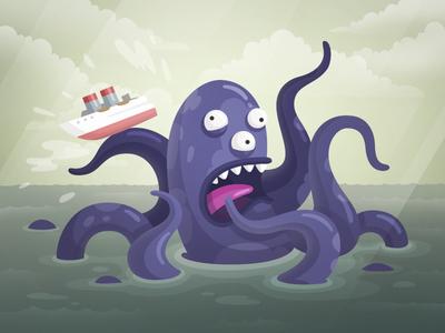 Kraken ship octopus creature legend squid sea monster kraken fireart studio fireart