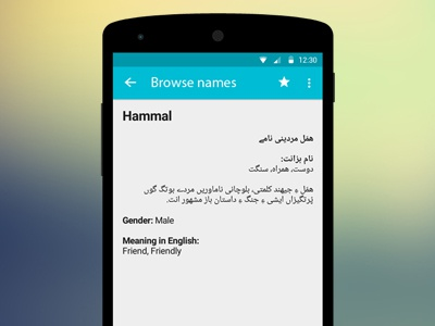 Detail Activity - Prototyping Android Names App by AmirDe on Dribbble