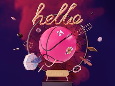 Hello Dribbble debutshot design 3d