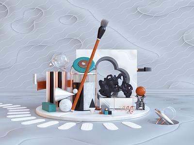 Brush. installation design 3d